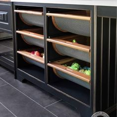 LOVE this for produce bins, apples, oranges, bananas, tomato, onions, potatoes etc... In island by fridge? Bread?