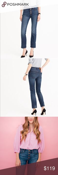 """J. Crew Straightaway jean in Bluff wash SIZE & FIT: Sits above hip. Fitted through hip with a straight leg. Front rise: 11"""". 27"""" inseam. Runs large. DETAILS: This jean features a cool fit (a higher waist and a straight, cropped leg), plus an exposed button fly that's superstylish. It's also crafted in premium Turkish denim that's not too rigid, thanks to a little bit of stretch for added comfort. Cotton/elastane. Traditional 5-pocket styling. Machine wash. Excellent condition worn only once…"""
