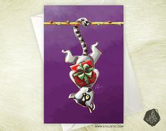 Carte de voeux Maki catta de Noël