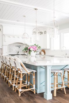 kitchen with white cabinets and light blue island pinned to rh pinterest com