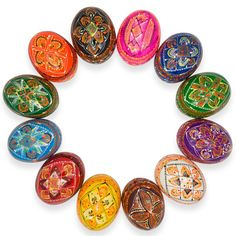 2.5 Set of 12 Colorful Ukrainian Pysanky Wooden Easter Eggs Historically, one of the most popular Easter gifts has been the Easter egg, hand painted in various patterns. Family members, friends gave them to each other and a bowl of Easter eggs would also be set out in the house, to protect against misfortunes. Become part of ancient tradition by sharing these colorful Easter gifts with your friends and family!  2.5 (H) X 1.7 (D) Linden Wood Hand Painted Made in Ukraine  BestPysanky Item #…