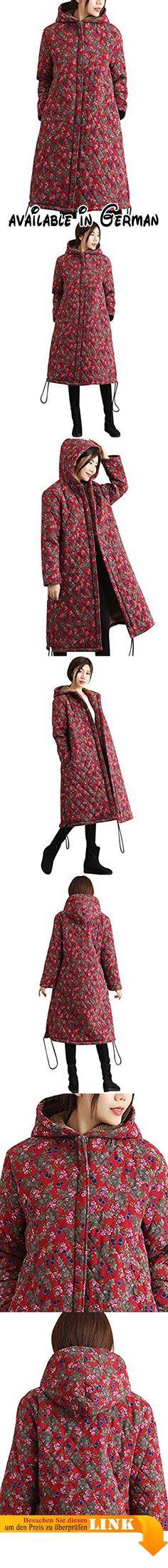 Youlee Damen Winter Herbst Blumen Mäntel Verdicken Baumwolle Leinen Mäntel  mit Kapuze Red. Mit Kapuze 22d07f02ae