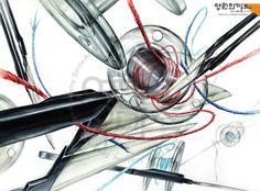 건국대 의상디자인 기초디자인  합격생 재현작 쪽가위, 미싱 보빈,두가지색 실