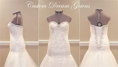 New A-Line Wedding Dress: Gorgeous #Weddingdress by Custom Dream Gowns! Romantic Alencon Lace &Tulle Fit &
