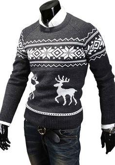 Christmas Men's Deer Pattern Crewneck Sweater Pullover Knitwear