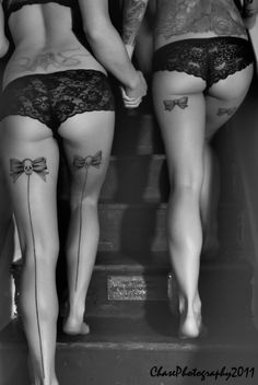 seam tattoos and lace knickers - dessous #tattoos #weightloss