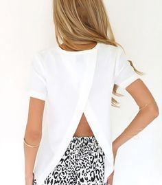 T-shirt with back split  love this idea although not necessarily in white