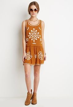 Cutout-Back Embroidered Dress | Forever 21 - 2000155204