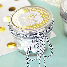 Gold Mason Jars - Gold Wedding Favors Monogram Wedding Favors - Personalized Metallic Foil Small 4 oz Mason Jar Favors (EB2392FW) set of 12