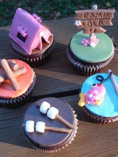 Girlie camping cupcake toppers