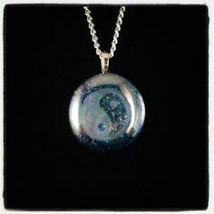 Tao Yin-Yang Amulet Hand Engraved Glass Stone Pendant