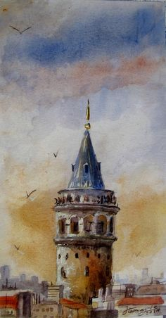 in Istanbul , Galata Tower - Watercolor painting Watercolor Landscape, Watercolor Print, Watercolor Illustration, Landscape Art, Watercolor Paintings, Simple Watercolor, Painting Abstract, Symbolic Art, Islamic Paintings
