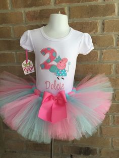 Custom boutique Birthday Peppa Pig tutu set by robellaboutique