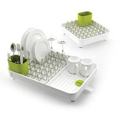 This dish rack from Joseph Joseph allows draining spaces to be quickly and easily expanded - ideal for accommodating extra washing up after entertaining.  Plated steel prongs and non-scratch tips make it suitable for all types of glassware and crockery, while the integrated spout helps to drain away any excess water but can also be closed, trapping water inside for draining later.