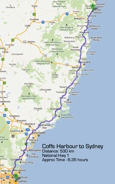 Brisbane To Coffs Harbour Road Map Australian Road Trips - Sydney map world