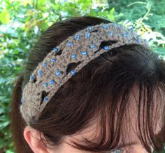 Latte & Blue Crochet Beaded Headband by MonicaWilgaDesigns on Etsy, $14.00