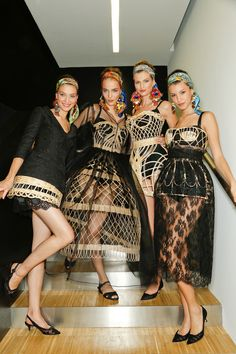 2000s designer work inspired by Crinoline period- Dolce & Gabanna, Spring 2013 - I'm obsessed with D&G's crinoline inspiration. The girls are wearing the caged crinoline look. Love these paired with bold colors.