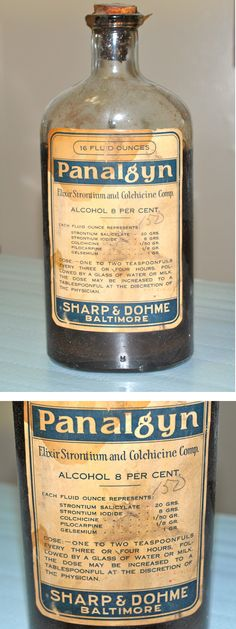 Antique medicine bottle of Panalgyn from Sharp & Dohme of Baltimore.  For rheumatism.  Contains Strontium!!! (from my personal collection)