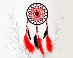 Black and red dream catcher with dices, Feather wall hanging, Beaded dreamcatcher, Modern home decor, Hippie wall art, Gift for him