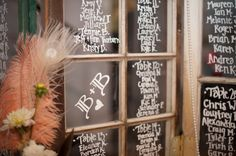 Seating Chart on glass window using chalk markers
