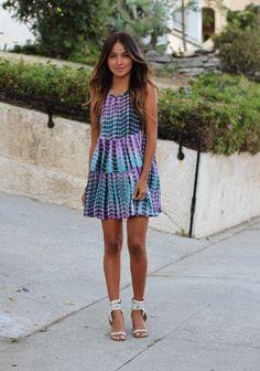 Purple & blue tie dye sun dress matched with perfect ombré