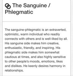 Sanguine - Phlegmatic Phlegmatic Personality, Personality Quotes, Personality Tests, Sanguine Personality, Temperament Types, Type 7 Enneagram, Understanding People, Mental Issues, Ambivert