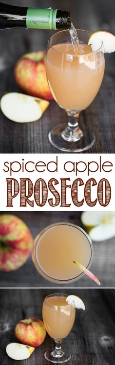Spiced Apple Prosecco is a quick and easy drink full of fall flavor. Prosecco co… Spiced Apple Prosecco is a quick and easy drink full of fall flavor. Prosecco cocktails are perfect for holiday gatherings or relaxing after a busy day. Prosecco Cocktails, Cocktail Drinks, Fun Drinks, Yummy Drinks, Cocktail Recipes, Yummy Food, Beverages, Drink Recipes, Sangria