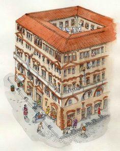 Insulae (apartments) Ancient Rome, Ancient Greece, Ancient History, Roman Era, Roman City, Roman Architecture, Ancient Architecture, Architecture Romaine, Ancient Buildings