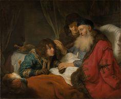 O Isaac velho e cego senta-se em sua cama e abençoa seu filho Jacob. De pé ao lado deles é a esposa de Isaac, Rebecca. Jacó engana Isaac.(Gen 27) Govert Flinck 1615 – 1660