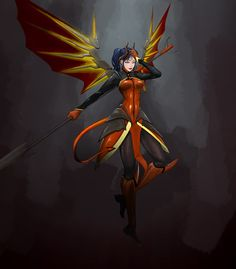 devil MERCY - More at https://pinterest.com/supergirlsart/ #skin #overwatch #wings #fanart