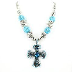 BLUE Necklace Western Cowgirl Rodeo Chuncky Rhinestone Cross Bead Womens Crystal #ssfashion #Chain