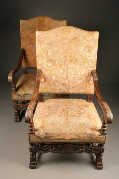 Pair of French Louis XIV Baroque style armchairs made in fruitwood with  claw feet and tapestry upholstery , circa Price is for pair.