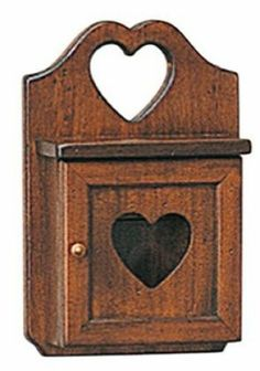 Portachiave con cuore in legno massello colore noce arte povera
