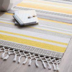 Tapis rayé en coton jaune/gris 60 x 100 cm PORTO   Maisons du Monde