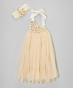 Take a look at this Gold Rhinestone Fringe Dress & Headband - Infant, Toddler & Girls by Royal Gem on #zulily today!