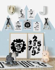 Monochrome kids decor, monochrome Nursery Decor, Nursery wall Art, Nursery Art Print, Scandi Kids Decor, Scandinavian art prints, scandi art #ad