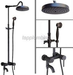 Wall Mounted Black Oil Brass Bathroom Rain Shower Faucet Set with Single Handle Bathtub Mixer Shower Tap + Hand Shower Mixer Shower, Shower Seat, Rain Shower, Shower Doors, Tub And Shower Faucets, Tub Faucet, Bathtub, Shower Bathroom, Bronze Bathroom