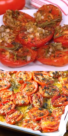 Italian Recipes Roasted Italian Tomatoes transform this vegetable into a whole new flavor profil… Side Dish Recipes, Healthy Dinner Recipes, Appetizer Recipes, Cooking Recipes, Cooking Beef, Healthy Cooking, Cooking Tips, Vegan Appetizers, Italian Cooking