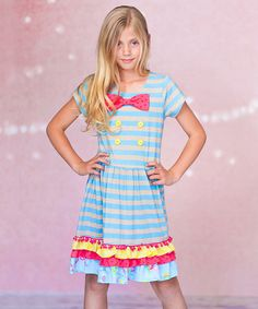 Love this Blue Stripe Nautical Bow Dress - Infant & Toddler on #zulily! #zulilyfinds