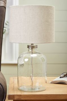 Buy Brompton Table Lamp from the Next UK online shop Bedside Table Styling, Bedside Desk Lamps, Bedroom Lamps, Bedroom Ideas, Master Bedroom, Bedroom Decor, Glass Lamp Base, Clear Glass Table Lamp, Brompton