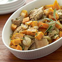 Cider-Braised Chicken Thighs with Sweet Potatoes and Sage - 8pts.  I'd use chicken breast and divide it into 8 servings instead of 6 to bring the points down.