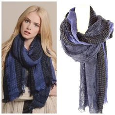 """B148 Super Soft Raw Edge Navy Blue Black Scarf ‼️PRICE FIRM‼️   Open Weave Raw Edge Scarf  Retail $64  One of my favorite scarves.  This is so ridiculously soft you will want to sleep with it all the time!  Navy blue & black mixed pattern.  Sure to dress up any outfit!  100% acrylic.    Length 70""""  Width 27"""" Boutique Accessories Scarves & Wraps"""