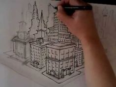 How to draw buildings,skyscrapers (ORIGINAL,NOT A COPY) - YouTube