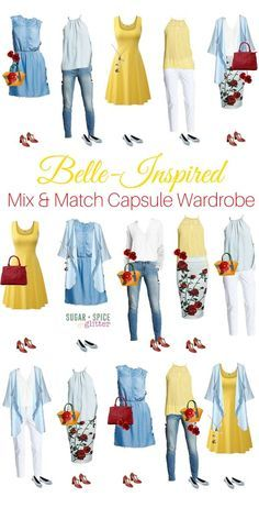 Belle-inspired outfits to last all week! This Disney bounding-style wardrobe board has affordable and classy options for the Disney loving grown up, with beautiful pops of yellow and rose accessories