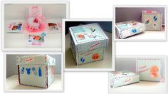 Kartka pudełko z okazji narodzin dziecka.