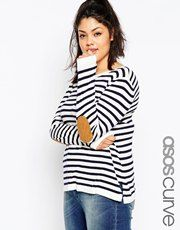ASOS CURVE Stripe Boxy Jumper With Tan Suede Elbow Patch