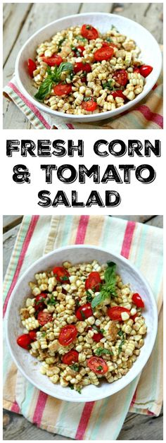 Fresh Corn and Tomato Salad with Balsamic Basil Dressing recipe : great summer salad recipe (super easy!)