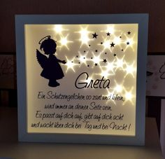 Sugar-sweet picture frame including LED lighting with the child& name! Sugar-sweet picture frame including LED lighting with the child& name! The perfect gift for b Diy Home Crafts, Easy Diy Crafts, Diy Crafts For Kids, Box Frame Ideas Diy Crafts, Maila, Birth Gift, Craft Sale, Box Frames, Shadow Box