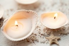 Collect shells from the places you travel, fill with wax and wick, and voila!