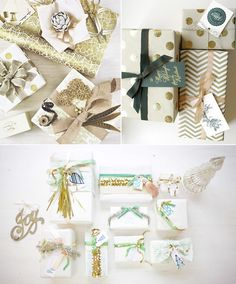 Gold holiday gift wrap ideas and more creative wrapping inspiration